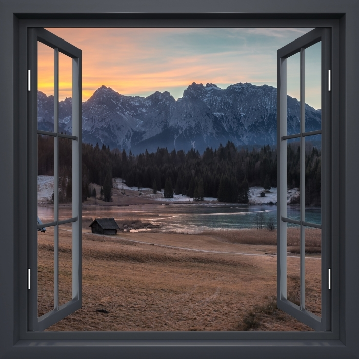 Fototapeta winylowa Okno czarne otwarte - Bawaria - Widok przez okno