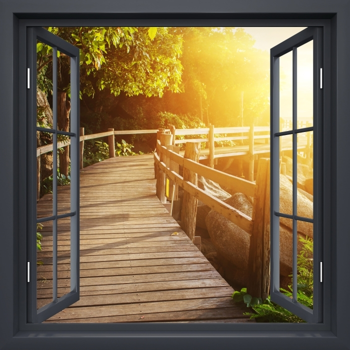 Black window open - Thailand Vinyl Wall Mural - View through the window