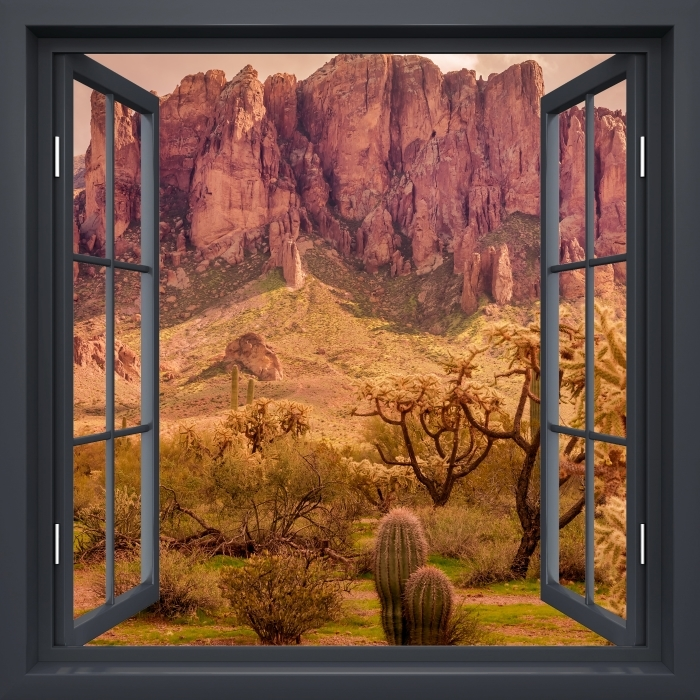 Papier peint vinyle Fenêtre Noire Ouverte - Arizona - La vue à travers la fenêtre