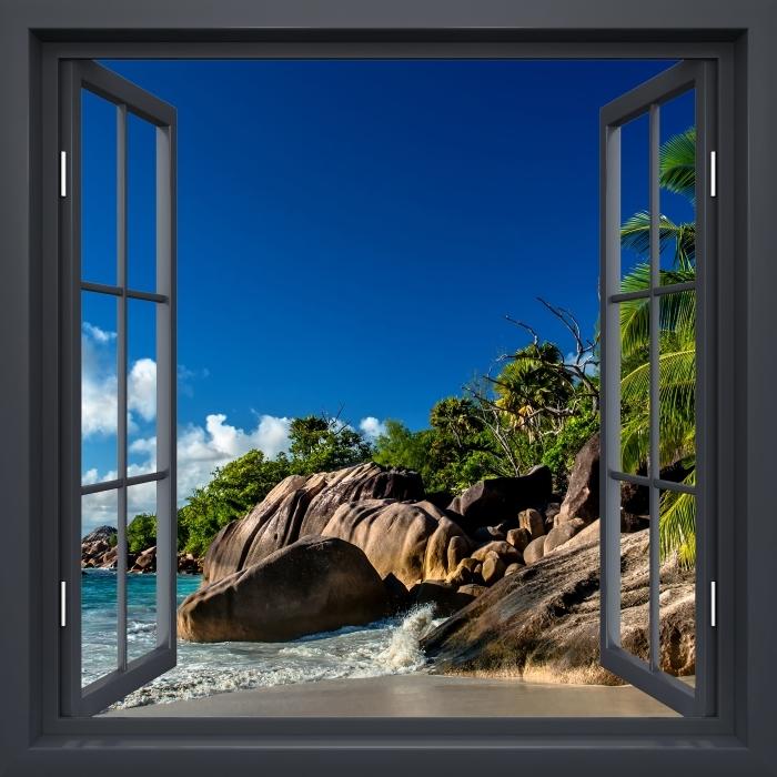 Fototapeta winylowa Okno czarne otwarte - Tropiki - Widok przez okno