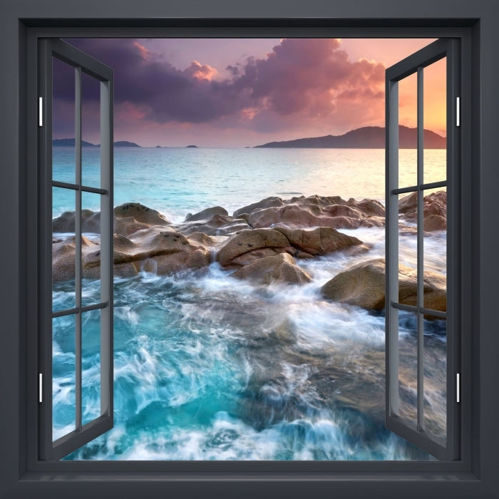 Papier peint vinyle Fenêtre Noire Ouverte - Coucher De Soleil - La vue à travers la fenêtre