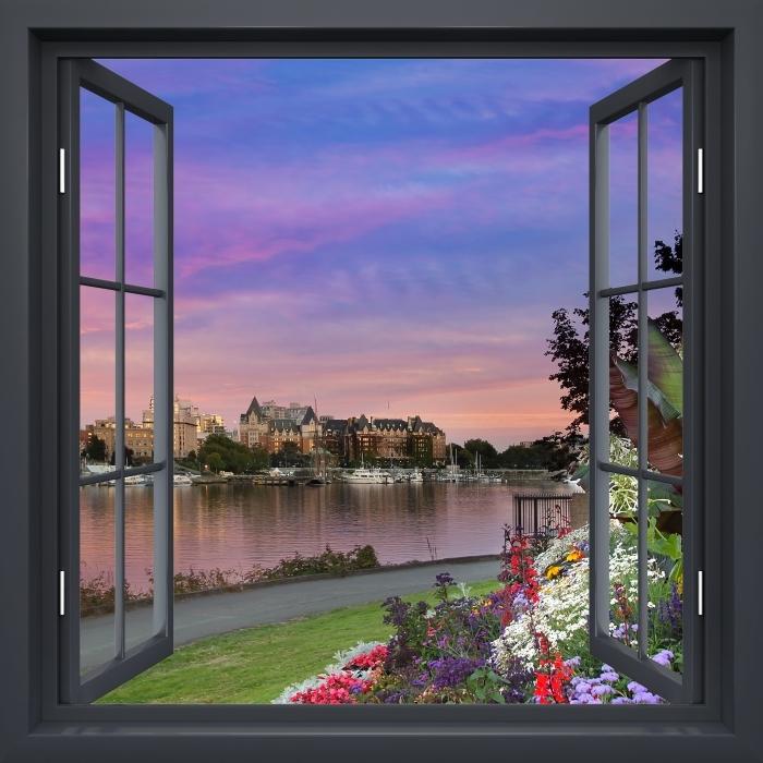 Papier peint vinyle Fenêtre Noire Ouverte - Vue Sur La Rivière. - La vue à travers la fenêtre