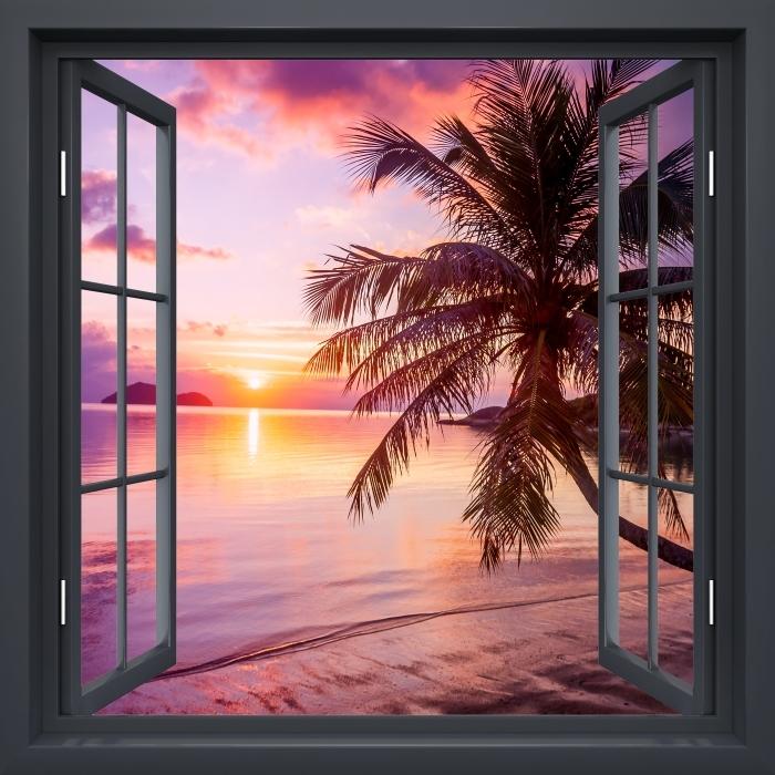 Vinyl Fotobehang Black raam open - Tropisch strand - Uitzicht door het raam