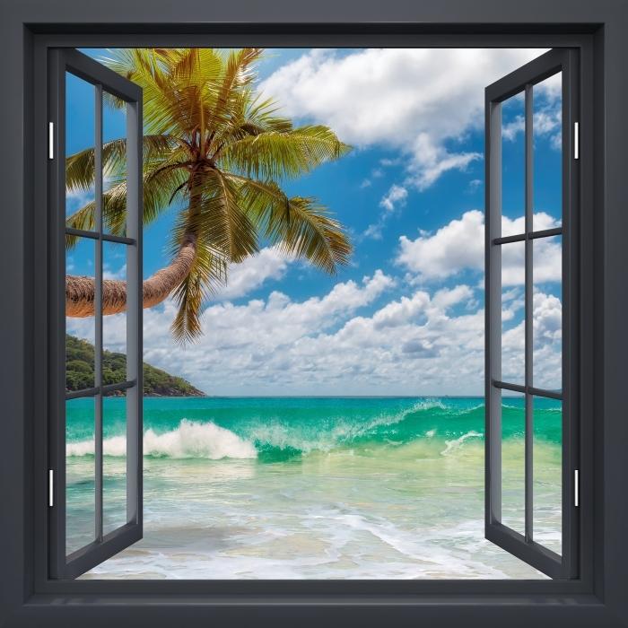 Fototapeta winylowa Okno czarne otwarte - Raj na plaży - Widok przez okno