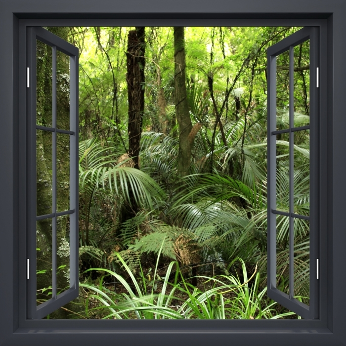Black window open - Tropical forest Vinyl Wall Mural - View through the window