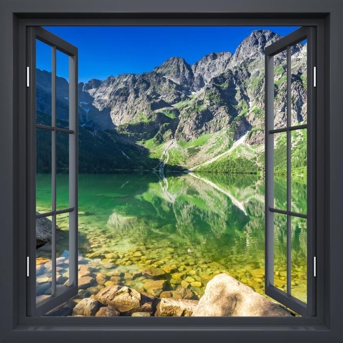 Papier peint vinyle Fenêtre Noire Ouverte - Lac Dans Les Montagnes - La vue à travers la fenêtre