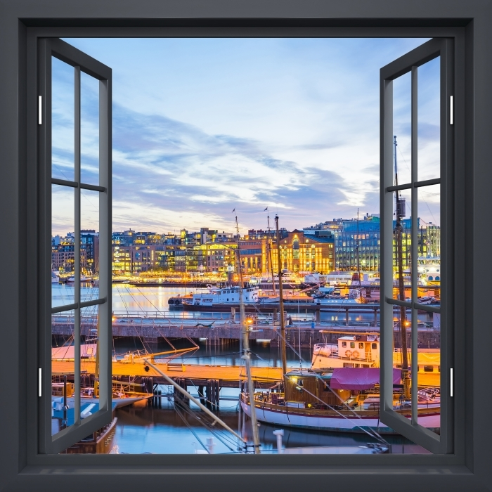 Papier peint vinyle Fenêtre Noire Ouverte - Oslo - La vue à travers la fenêtre