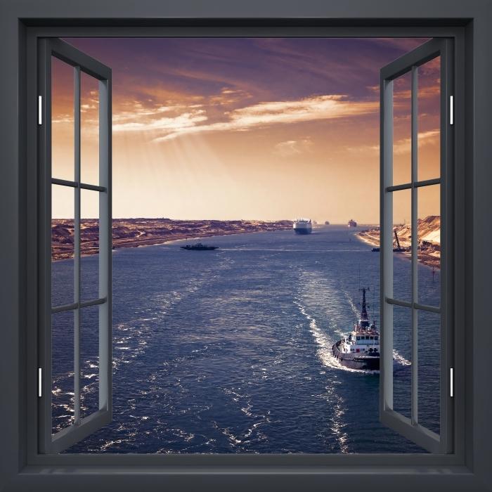 Papier peint vinyle Fenêtre Noire Ouverte - Le Long De La Rivière - La vue à travers la fenêtre