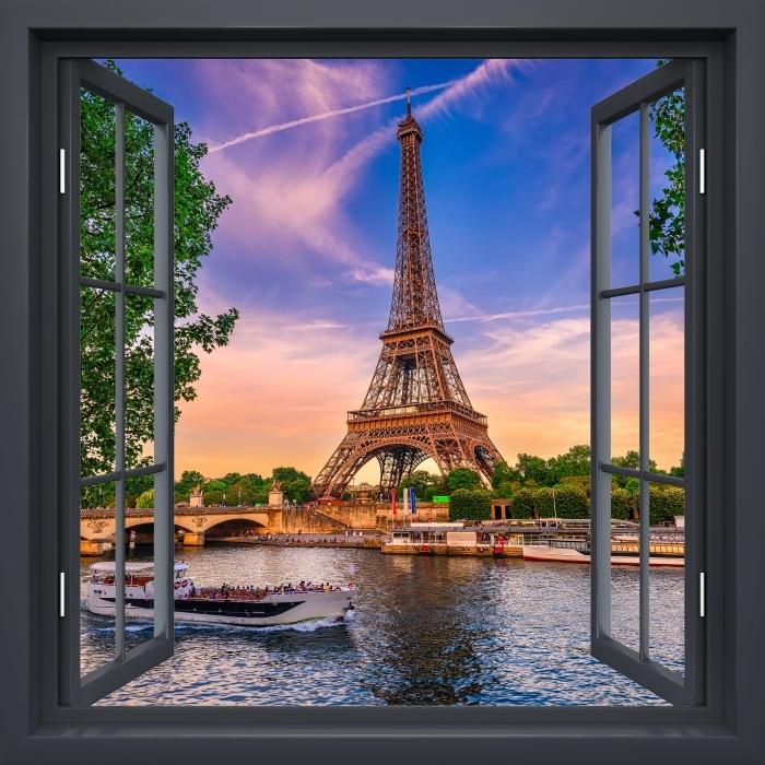 Fototapeta winylowa Okno czarne otwarte - Paryż i Wieża Eiffla - Widok przez okno