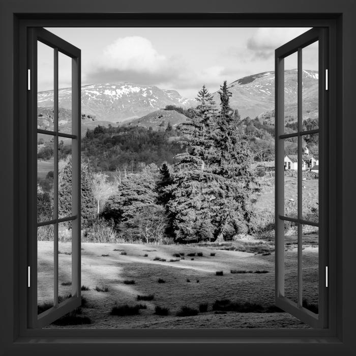 Papier peint vinyle Fenêtre Noire Ouverte - Lake District - La vue à travers la fenêtre