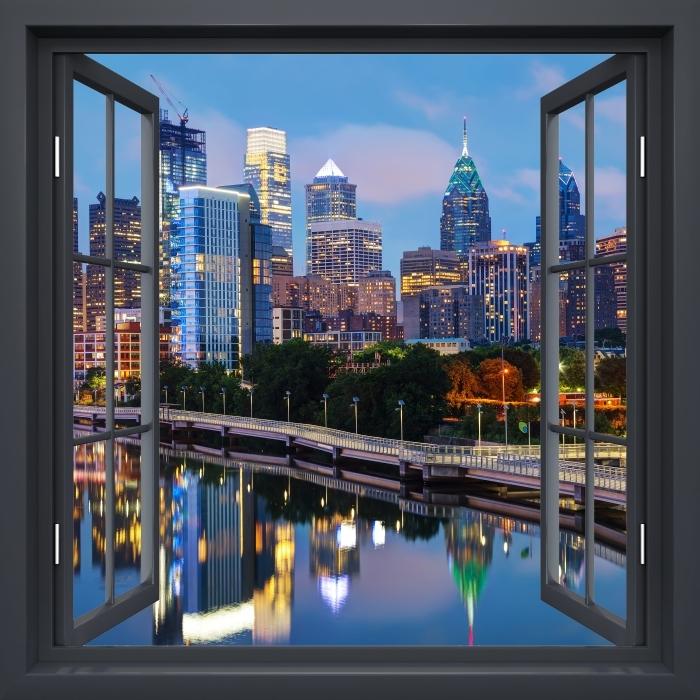Papier peint vinyle Fenêtre Noire Ouverte - Philadelphie La Nuit - La vue à travers la fenêtre