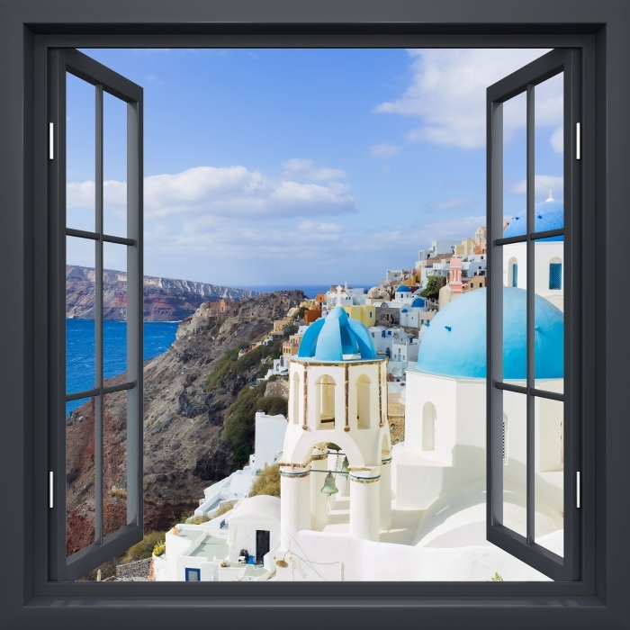 Fototapeta winylowa Okno czarne otwarte - Krajobraz Santorini - Widok przez okno