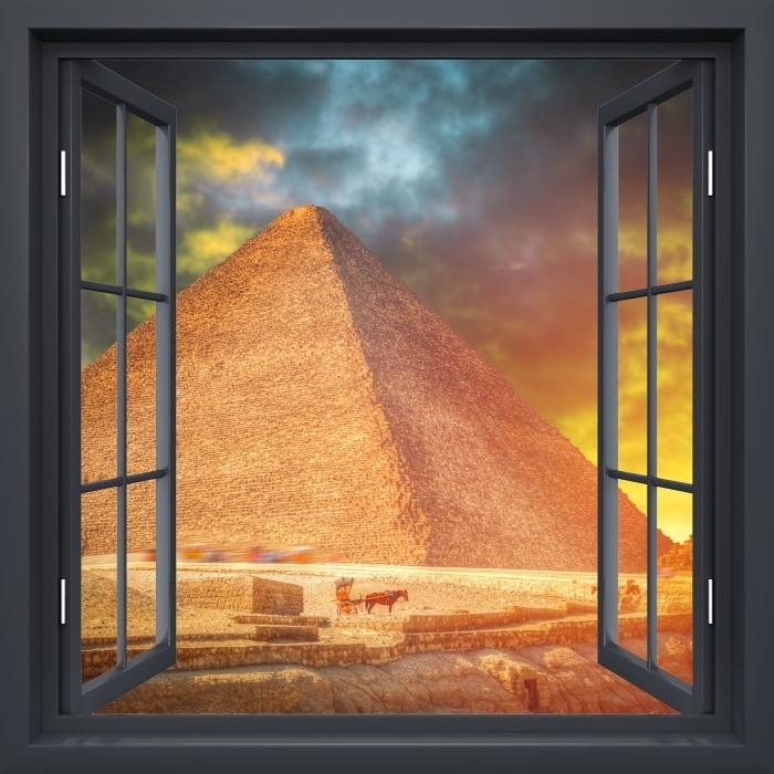 Vinyl-Fototapete Schwarz-Fenster geöffnet - Pyramiden von Gizeh - Blick durch das Fenster