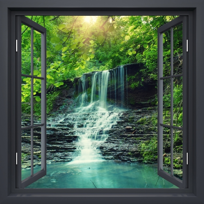 Black window open - Waterfall Vinyl Wall Mural - View through the window