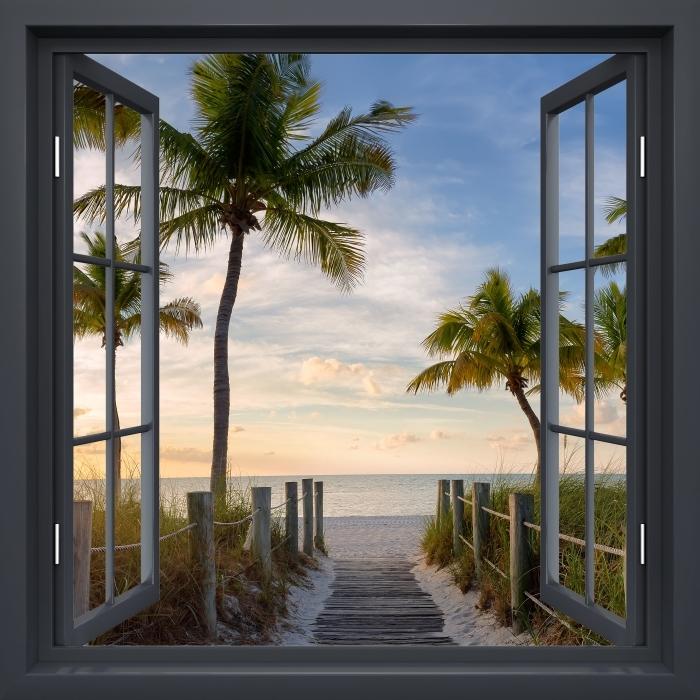 Fototapeta winylowa Okno czarne otwarte - Panorama - Widok przez okno