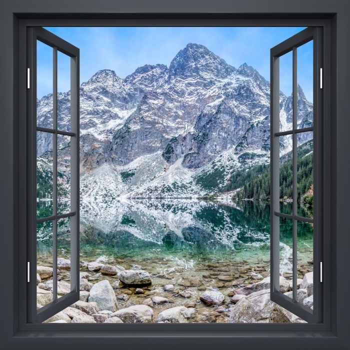 Papier peint vinyle Fenêtre Noire Ouverte - Sea Eye - La vue à travers la fenêtre