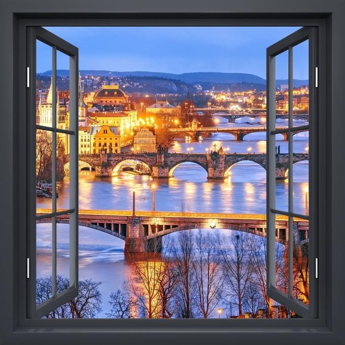Papier peint vinyle Fenêtre Noire Ouverte - Prague - La vue à travers la fenêtre