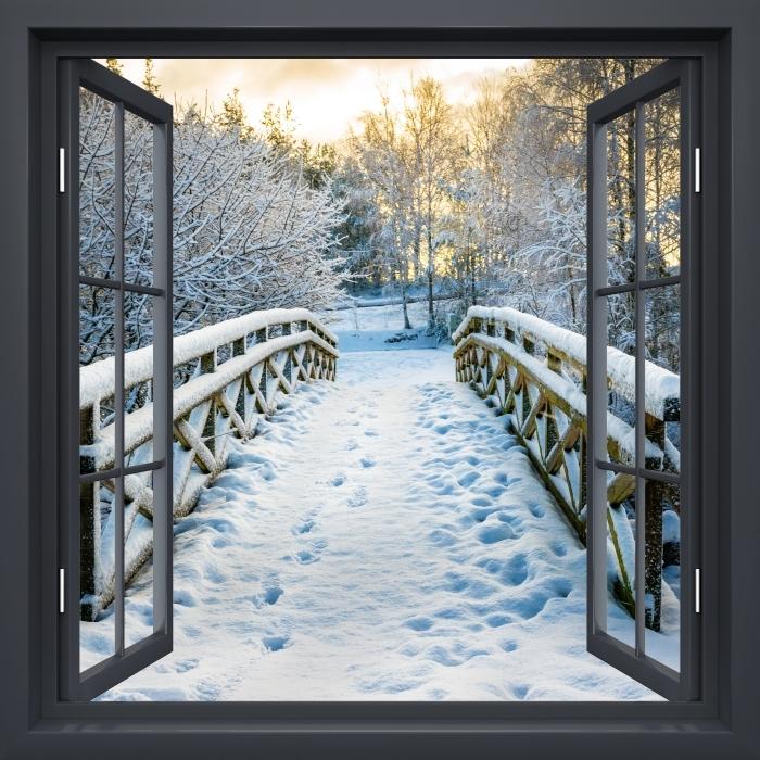 Vinyl-Fototapete Schwarz-Fenster geöffnet - Winterbrücke - Blick durch das Fenster