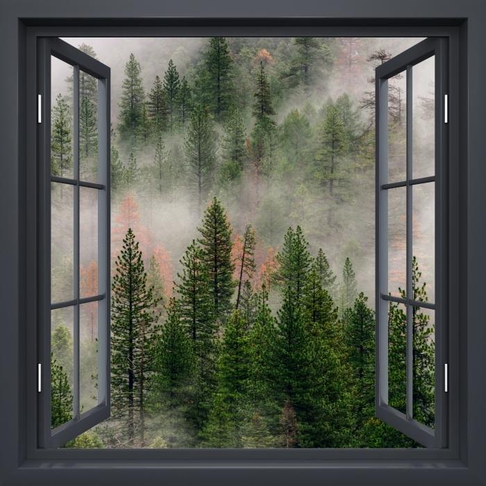 Vinyl Fotobehang Black raam open - Bos in de mist - Uitzicht door het raam