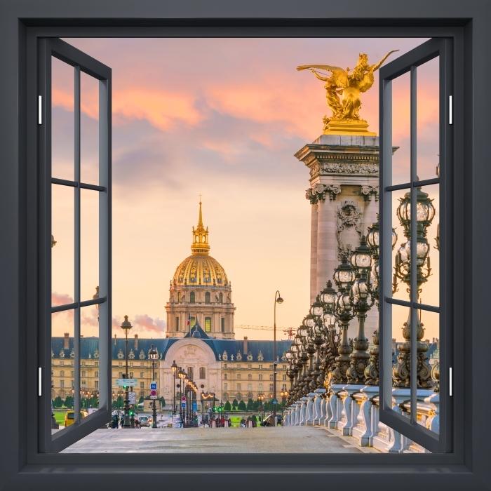 Papier peint vinyle Fenêtre Noire Ouverte - Pont Alexandre Iii. Paris - La vue à travers la fenêtre