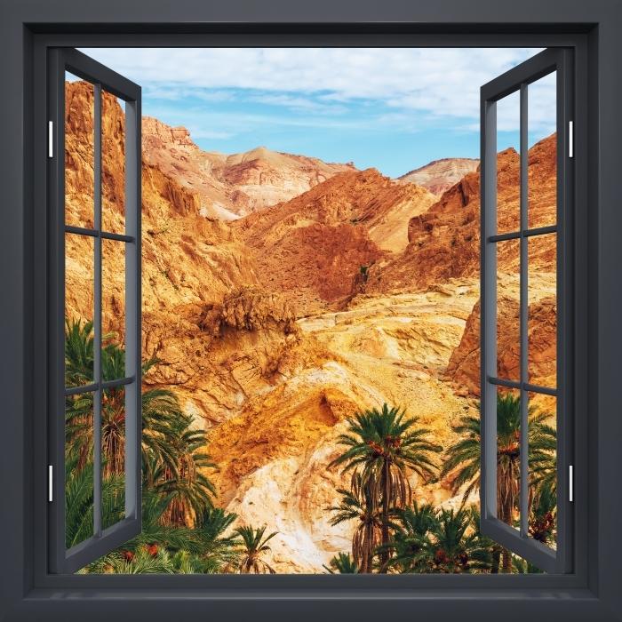Vinyl-Fototapete Schwarz-Fenster geöffnet - Bergoase - Blick durch das Fenster