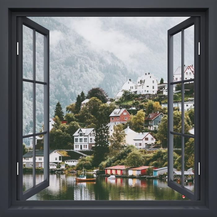 Papier peint vinyle Fenêtre Noire Ouverte - Monts Brumeux. -