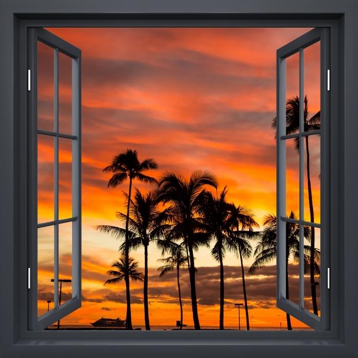 Papier peint vinyle Fenêtre Noire Ouverte - Hawaii - La vue à travers la fenêtre