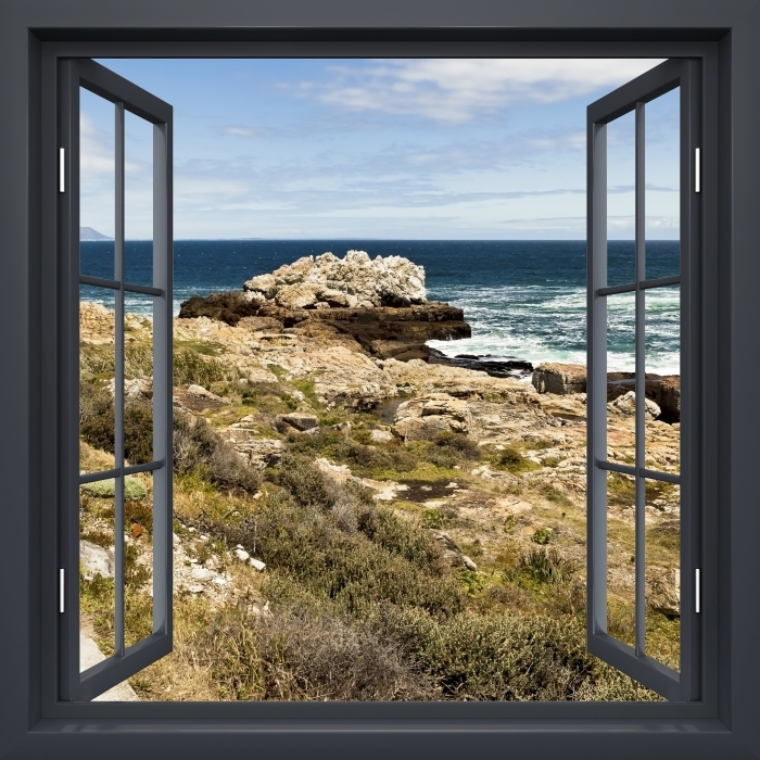Black opened the window - the sea. Vinyl Wall Mural - View through the window