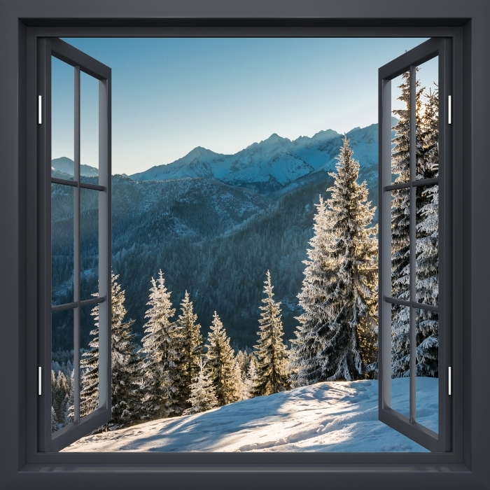 Papier peint vinyle Fenêtre Noire Ouverte - Tatry -