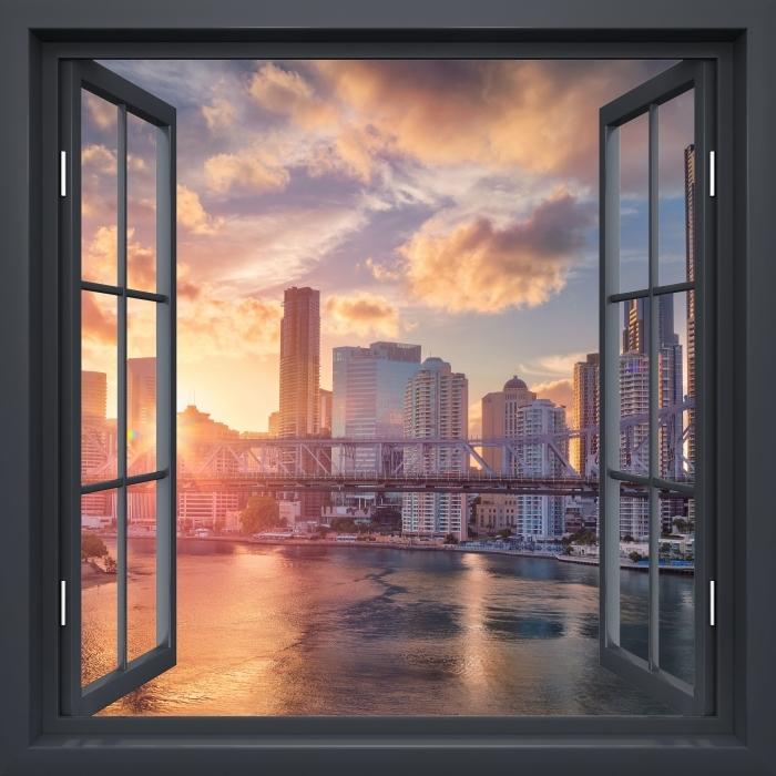Black window open - Brisbane. Vinyl Wall Mural - View through the window