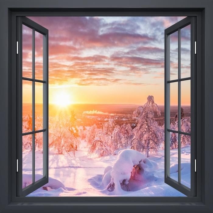 Fototapeta winylowa Okno czarne otwarte - Skandynawia o zachodzie słońca - Widok przez okno