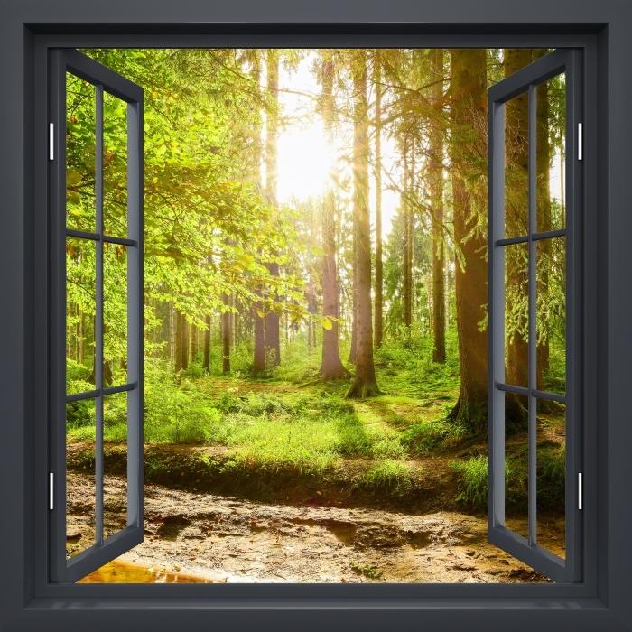 Fototapeta winylowa Okno czarne otwarte - Las - Widok przez okno
