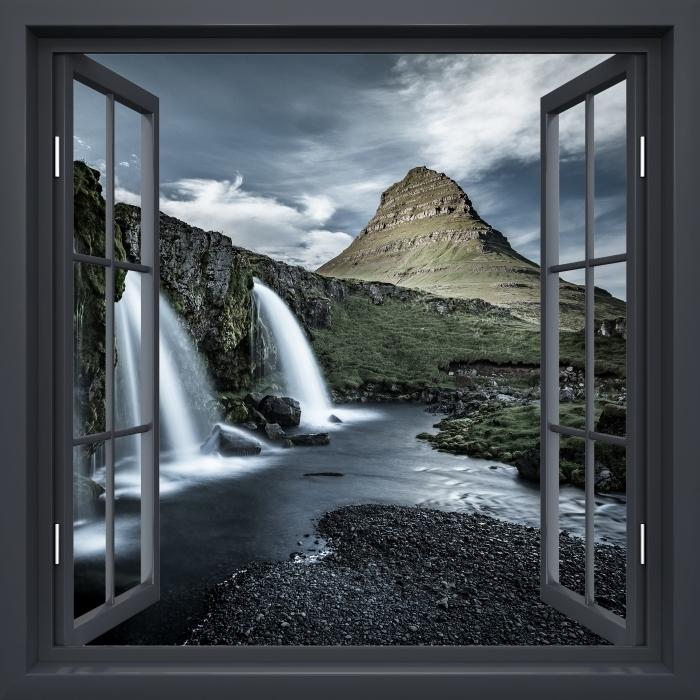 Vinyl-Fototapete Schwarz-Fenster geöffnet - Wasserfall. Island. - Blick durch das Fenster
