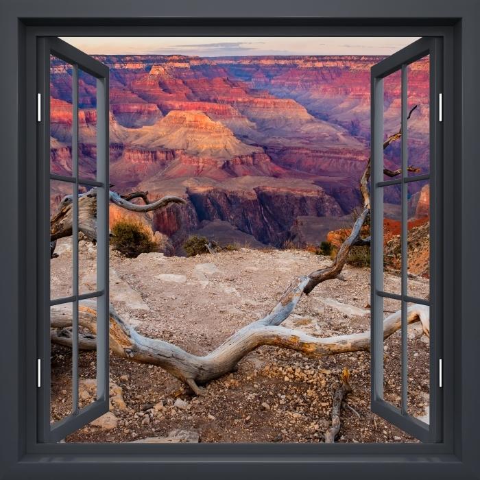 Papier peint vinyle Fenêtre Noire Ouverte - Grand Canyon - La vue à travers la fenêtre
