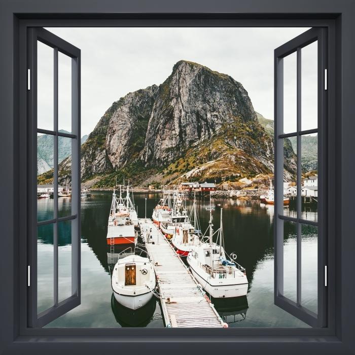 Fototapeta winylowa Okno czarne otwarte - Krajobraz. Norwegia - Imitacje