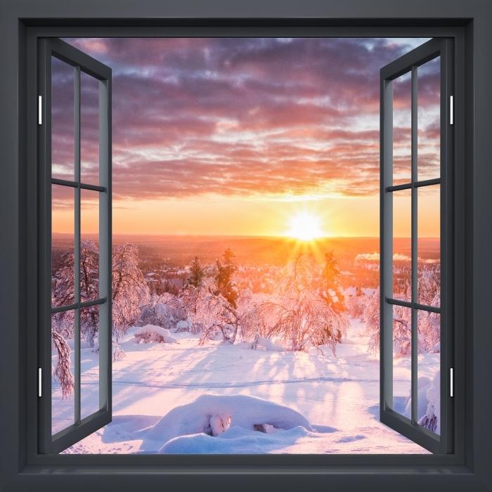 Papier peint vinyle Fenêtre Noire Ouverte - Scandinavie. Paysage Au Coucher Du Soleil - La vue à travers la fenêtre
