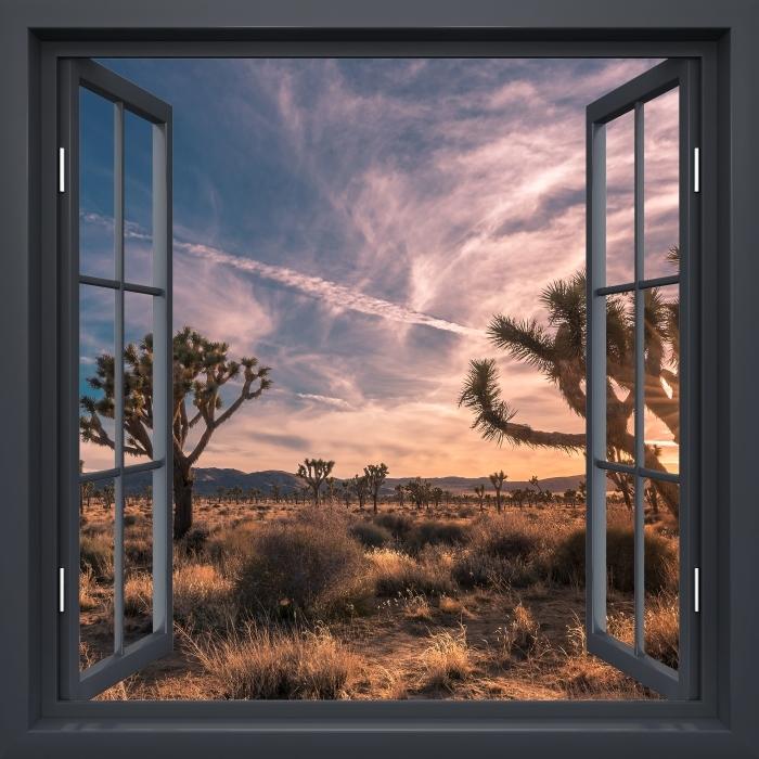 Papier peint vinyle Fenêtre Noire Ouverte - Coucher De Soleil. Désert. Californie. - La vue à travers la fenêtre