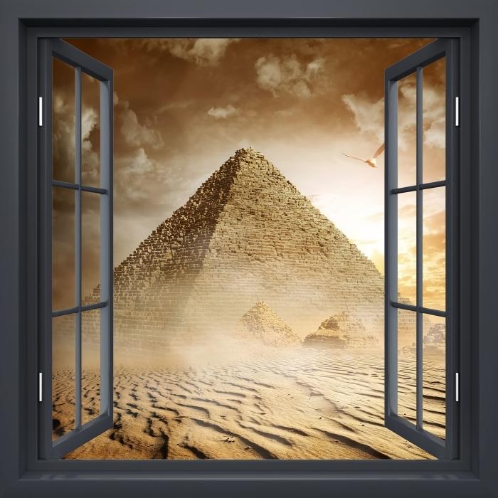 Fotomural Estándar Negro Ventana Abierta - Desert - Vistas a través de la ventana