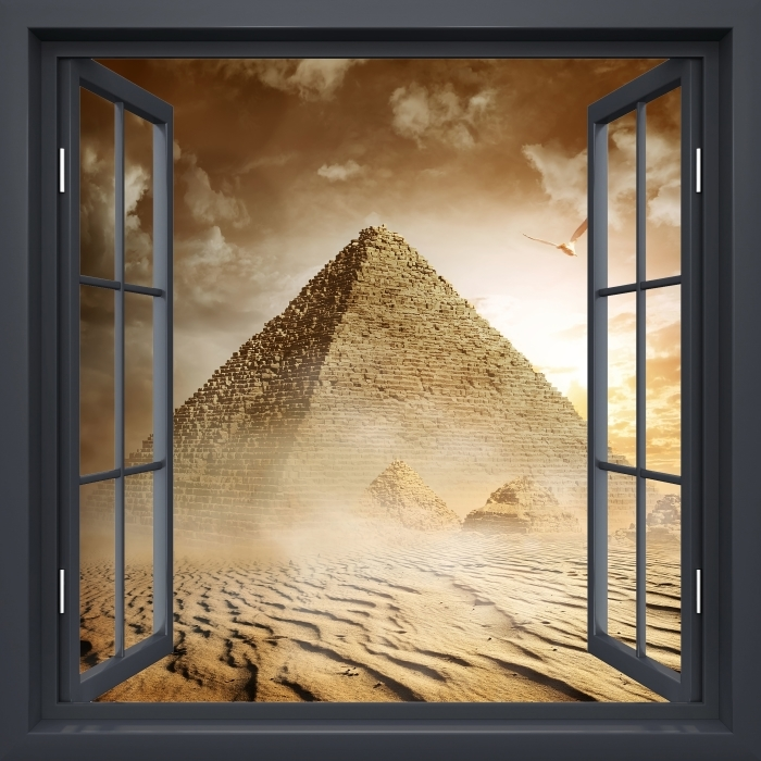 Fototapeta winylowa Okno czarne otwarte - Pustynia - Widok przez okno