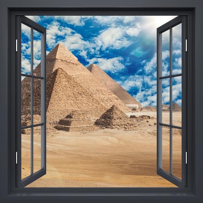 Vinyl-Fototapete Schwarz-Fenster geöffnet - Ägypten - Blick durch das Fenster
