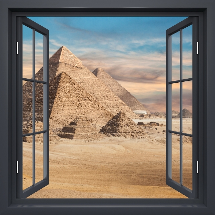 Mural de Parede em Vinil janela aberta Black - Egito - Vista pela janela