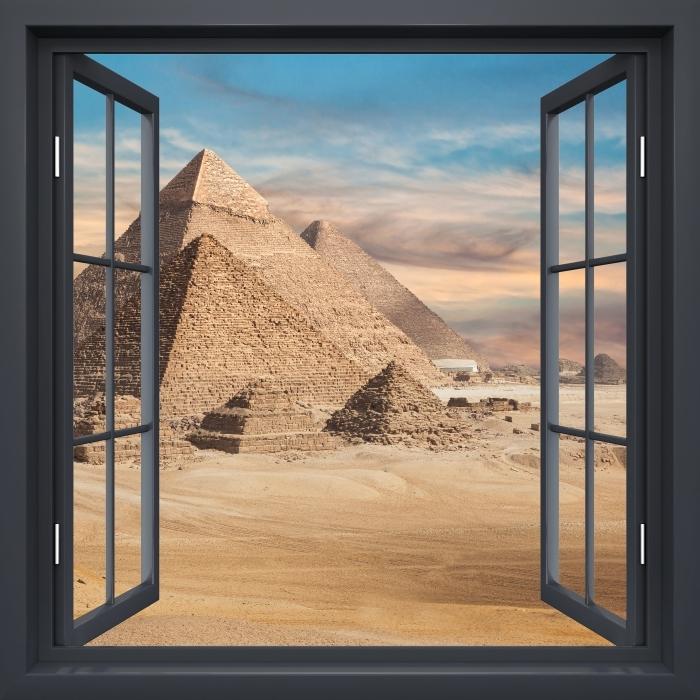 Musta ikkuna auki - Egypti Vinyyli valokuvatapetti - Tarkastele ikkunan läpi