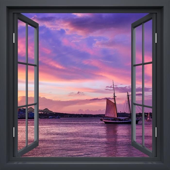 Papier peint vinyle Fenêtre Noire Ouverte - Le Coucher Du Soleil Incroyable Au Port De Boston - La vue à travers la fenêtre