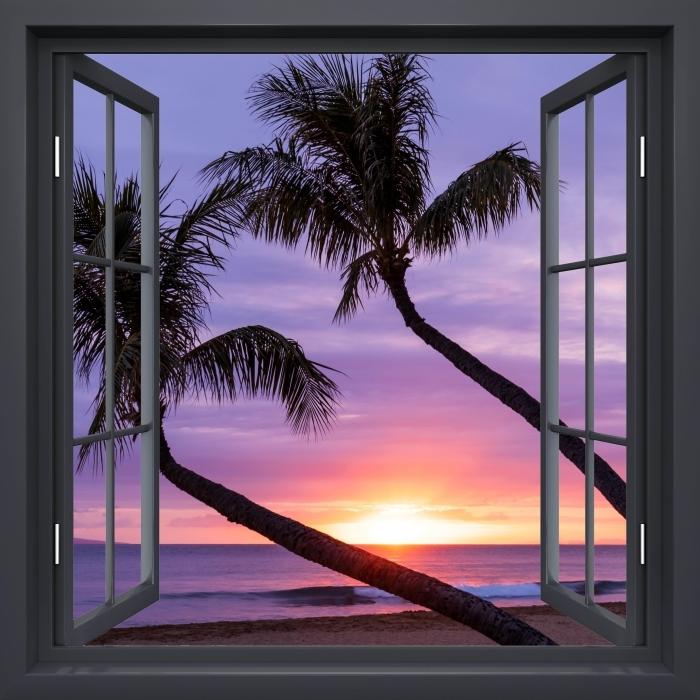 Vinyl Fotobehang Black raam open - Palmbomen - Uitzicht door het raam