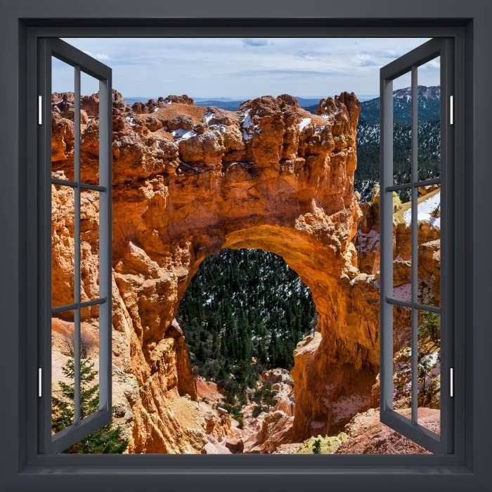 Papier peint vinyle Fenêtre Noire Ouverte - Canyon - La vue à travers la fenêtre