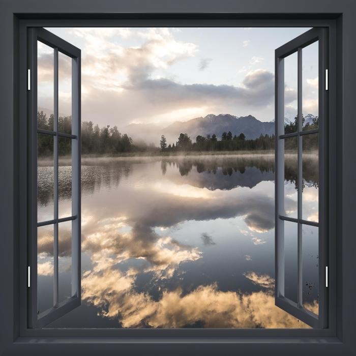 Fototapeta winylowa Okno czarne otwarte - Jezioro. Nowa Zelandia. - Widok przez okno