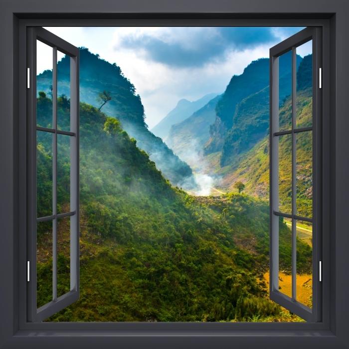Vinyl Fotobehang Black raam open - Ha Giang. Vietnam. - Uitzicht door het raam