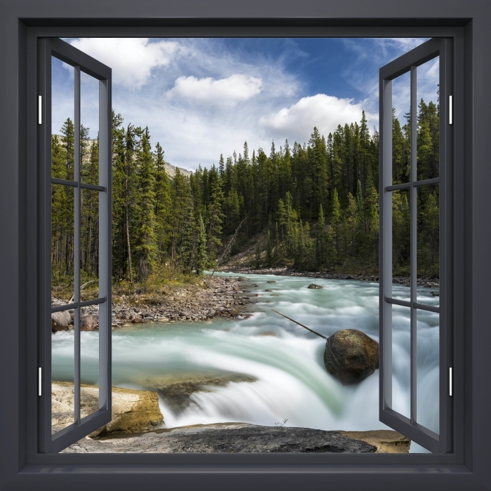 Papier peint vinyle Fenêtre Noire Ouverte - Canada - La vue à travers la fenêtre