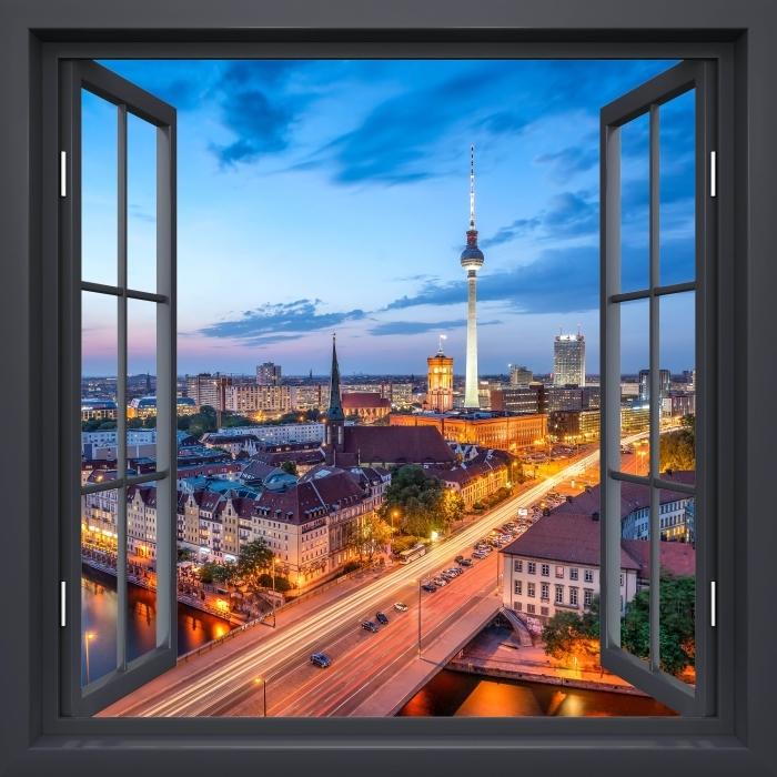 Naklejka Pixerstick Okno czarne otwarte - Widok na Berlin - Widok przez okno
