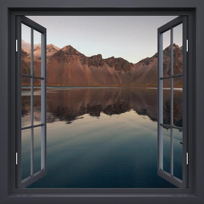 Vinyl-Fototapete Schwarz-Fenster geöffnet - Insel - Blick durch das Fenster